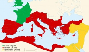 A map of the three different 'empires' that had split from Rome during the crisis years.